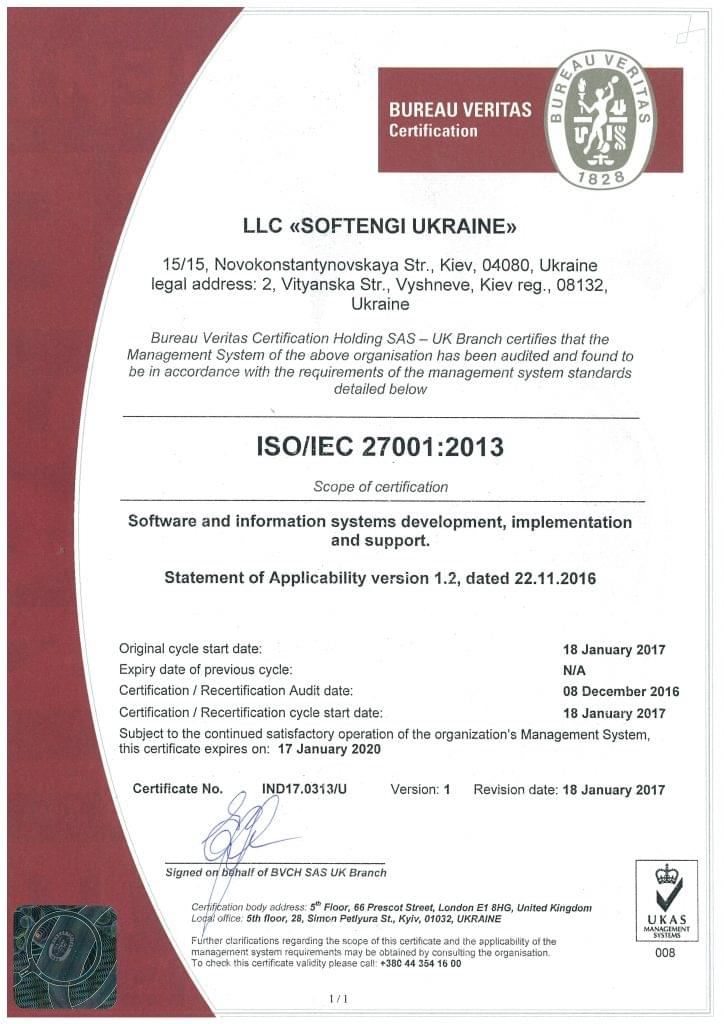 ISO/IEC 27001:2013 certification